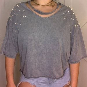 Zara S/S17 Distressed Crop Top with Pearls